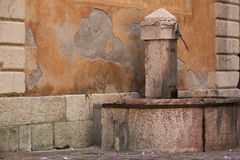 Typical French square with water fountain Stock Image