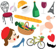Typical French Things Set Stock Images