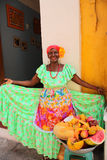 Typical fruit seller. Cartagena de Indias Stock Photos