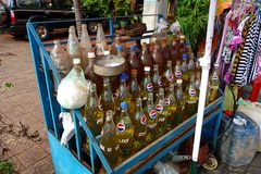 Typical fuel station in Cambodia royalty free stock photo