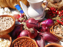 Typical gastronomy. Variety of typical Mediterranean products Stock Image