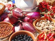 Typical gastronomy. Variety of typical Mediterranean products Stock Images