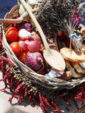 Typical gastronomy. Basket with typical Mediterranean products Stock Photography
