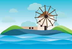 Typical Geece landscape with winmills at Myconos island. Vector illustration stock illustration