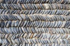 Typical Georgian stone wall, stacked zigzag Stock Photo