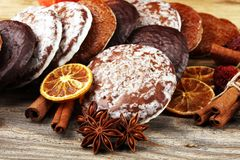 Typical German Gingerbreads such as Lebkuchen and Aachener Print royalty free stock images