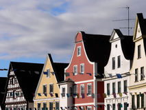 A typical german house. Typical german houses with a clouded sky Royalty Free Stock Photo