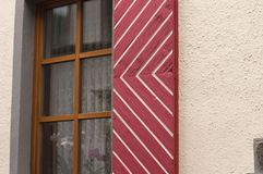 Typical german shutter of a wooden window Moselkern, Germany royalty free stock photography
