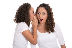 Typical girlfriends talking about secrets: two girls isolated. Royalty Free Stock Photos
