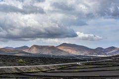 Typical grape cultivation in La Geria area on Lanzarote island Royalty Free Stock Photos