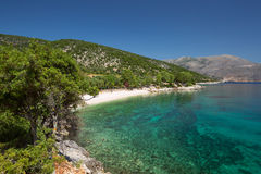 Typical Greece beach at the Island Kefalonia in Greece. Royalty Free Stock Photos