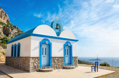 Typical Greek blue dome church,Gr. Typical Greek blue dome church, Kalymnos, Dodecanese Islands, Greece Stock Photo