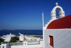 Typical greek chapel on Mykonos island, Cyclades, Greece Stock Photos