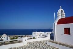 Typical greek chapel on Mykonos island, Cyclades, Greece Stock Photo