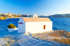 Typical greek chapel on Mykonos island, Cyclades, Greece Stock Images