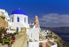 Typical Greek Church on an Island of Santorini Stock Photos