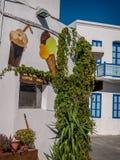 Typical Greek coffee shop  Mandraki town Nisoros Island  Aegean Sea Stock Images