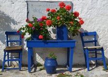 Typical greek courtyard. Stock Photo