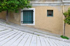 Typical greek facade Royalty Free Stock Images