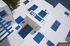 Typical greek house. Cute typical greek house in blue white still Royalty Free Stock Photos
