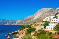 Typical Greek houses on coast of Aegean Sea Greece Royalty Free Stock Image