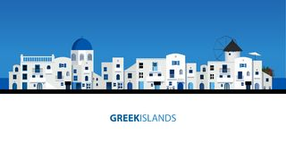 Typical Greek island houses. Blue sky and sea on the background.  Stock Illustration