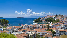 Typical greek island town. View of Skiathos town,  on the island of Skiathos in the Aegean Sea, belonging to Greece Royalty Free Stock Image