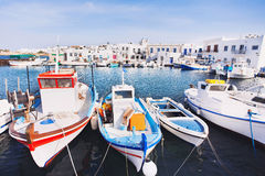 Typical Greek islands, village of Naousa, Paros island, Cyclades. Greek fishing village in Paros, Naousa, Greece Royalty Free Stock Image
