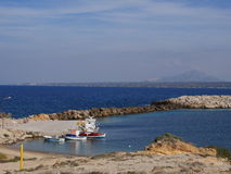 Typical Greek local greek harbour Nisoros Island  Aegean Sea Stock Image