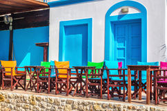 Typical Greek modern blue and white restaurant, Greece Stock Image