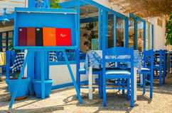 Typical Greek restaurant - blue and white, Greece Stock Photo