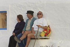 Typical Greek seniors Stock Photos