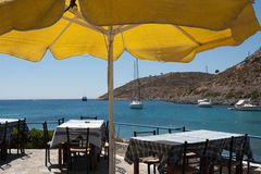 Typical greek tavern near the sea - Dodecanese islands Stock Image