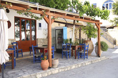 Typical Greek taverna in Crete Stock Photos