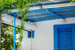 Typical greek white and blue courtyard Stock Photo