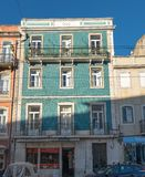 typical green building in Lisbon, Portugal stock photography