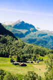Typical green meadows and mountain landscape in Norway Royalty Free Stock Photography
