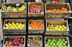 Typical grocery shop in Florence , Italy. Typical Italian grocery shop with a fruit, veggies on display in Florence, Italy. Organic food in Tuscany. Healthy stock photo