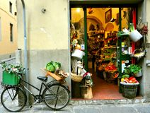 Typical small italian grocery shop in Florence, Italy