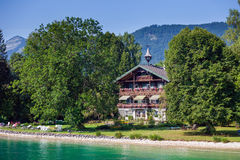 Typical Guests House on Wolfgang See lake shore Stock Photo