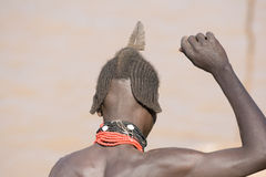 Typical hairstyle of men of the ethnic Hamer-Banna group, Ethiopia Royalty Free Stock Photos