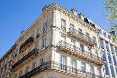 Typical Haussmann building in Paris street. A Typical Haussmann building in Paris street royalty free stock image