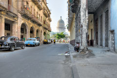 Typical Havana street with view on Capitolio Royalty Free Stock Photos