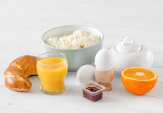Typical healthy country breakfast with croissant royalty free stock image