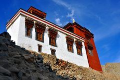 Typical Himalayan house. August 2012 - Ladakh, also called little Tibet (India) - Typical colorful Himalayan house on the mountains Royalty Free Stock Image