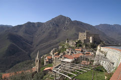 Typical hinterland ligurian village, called Castelvecchio Stock Photo