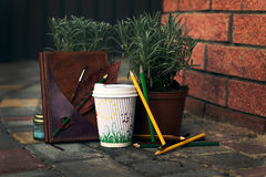 Typical Hipster Atmosphere: Cup of Coffee with pencils, notebook and plants Stock Photo