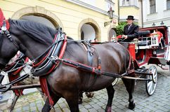 Horse drawn carriage in the city of Prague Stock Photos