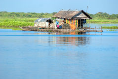 Typical House boat,     Cambodia. Royalty Free Stock Images