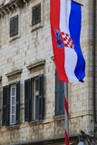 Typical house with Croatian flag Royalty Free Stock Photography